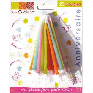 20 bougies d'anniversaire colorées