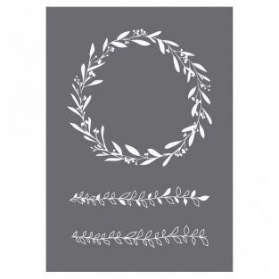 Stencil flower wreath A5 + spatula