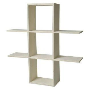 Wooden wall shelf to customize - 2 levels - 53 x 53 x 12 cm