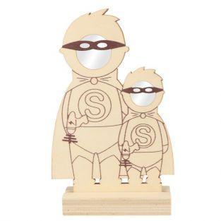 Marco de madera 21 x 12.5 cm - 2 superhéroes