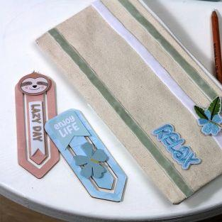 12 bookmarks wooden paper clips