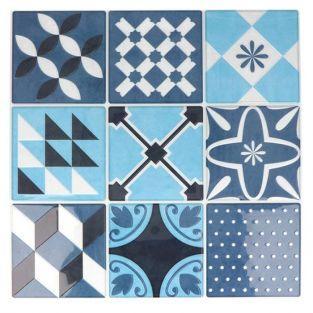 18 stickers carreaux de ciment Mosaïque azulejos 8 x 8 cm - Bleu lagon