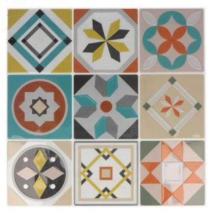 18 stickers carreaux de ciment Mosaïque azulejos 8 x 8 cm - Pastel & ocre