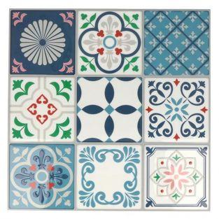 18 pegatinas Mosaico azulejos 8 x 8 cm - Lisboa