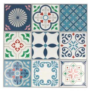 18 stickers carreaux de ciment Mosaïque azulejos 8 x 8 cm - Lisbonne