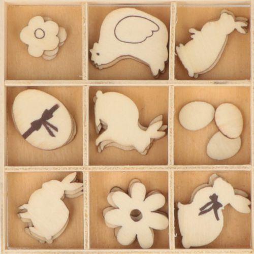 27 mini silhouettes en bois - Chocolats de Pâques