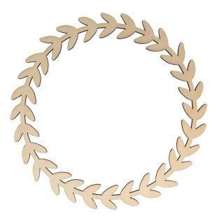 Silueta de madera Ø 34 cm - Corona de hojas