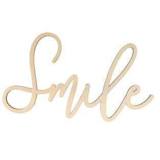 Wooden word plate 30 x 16 cm - Smile