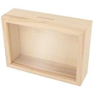 Tirelire cadre en bois à customiser 12 x 17 cm