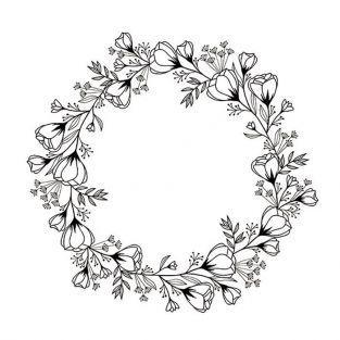 Sello de madera Ø 10 cm - Corona de flores