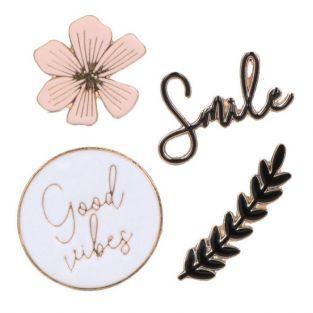 4 autocollants métal et émail - Good vibes