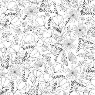 Japanese tracing paper B & W 90 g/ m² - 30 x 30 cm - Flowers