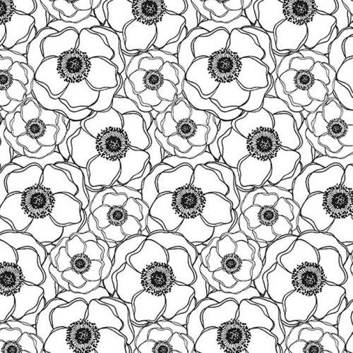 Japanese tracing paper B & W 90 g/ m² - 30 x 30 cm - Poppies