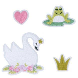 4 parches de textil fusible - Cisne