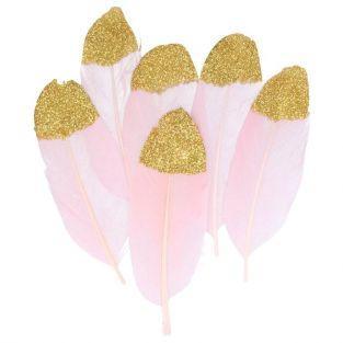 6 plumes rose pâle à paillettes dorées
