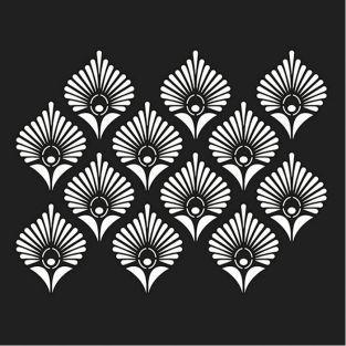 Plantilla 30 x 30 cm - Plumas de pavo real