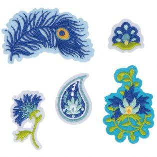 Ecussons thermocollants bleus - Paon