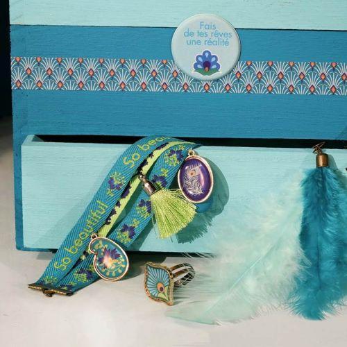 6 blue ribbons 1 m - Peacock