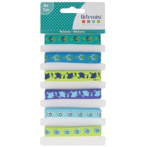 6 rubans bleus imprimés 1 m - Paon