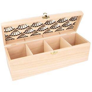 Beige Artemio 20 x 14 x 8 cm 4-Case Wooden Tea Box