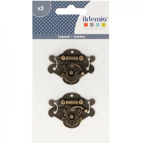 2 loquets de tiroir à crochets métalliques style japonais - 5 x 4 cm