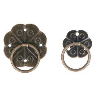 8 poignées de tiroir métalliques style japonais - 3,3 et 2,8 cm