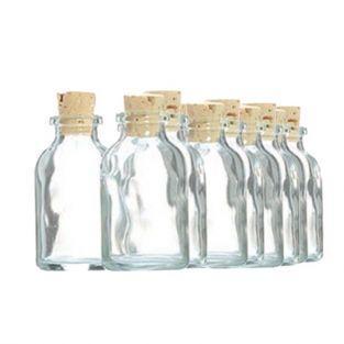 20 mini bouteilles en verre 6 cm avec bouchon liège