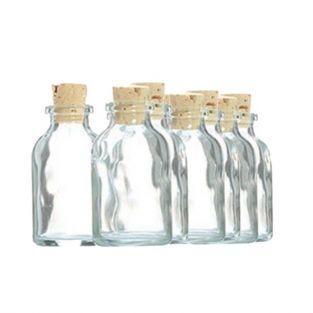 10 mini bouteilles en verre 6 cm avec bouchon liège
