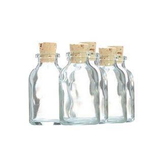 5 mini bouteilles en verre 6 cm avec bouchon liège