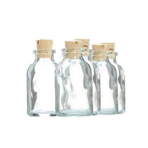 5 mini botellas de vidrio 6 cm con corcho