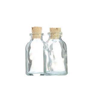 2 mini bouteilles en verre 6 cm avec bouchon liège