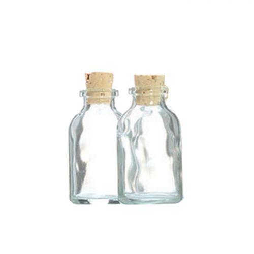 2 mini botellas de vidrio 6 cm con corcho
