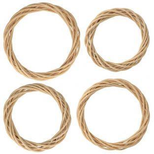 4 couronnes en osier Ø 15 à 30 cm
