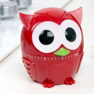 Owl kitchen timer 60 min - Red