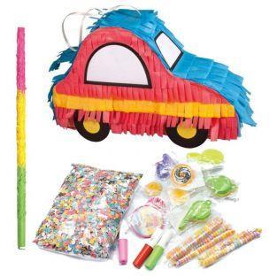 Piñata voiture à fabriquer 26 x 8 x 18 cm + bâton + surprises