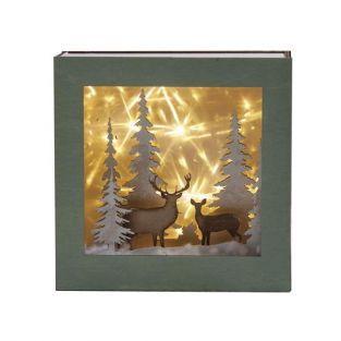 Kit mini cadre bois lumineux Forêt de Noël
