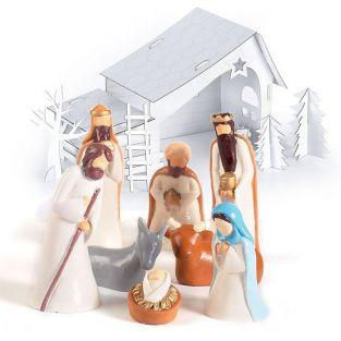 Christmas Crib DIY set with plaster figurines