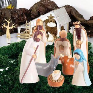 Coffret de fabrication Santons en plâtre, Crèche en carton & décor de Noël