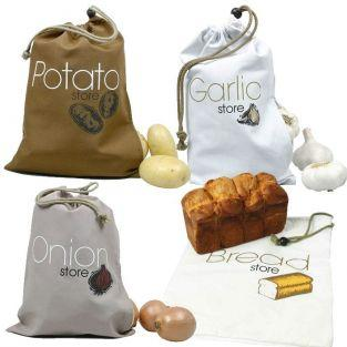 4 cloth food storage bags: garlic, onions, potatoes, bread