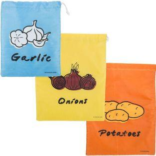3 cloth food storage bags: garlic, onions, potatoes