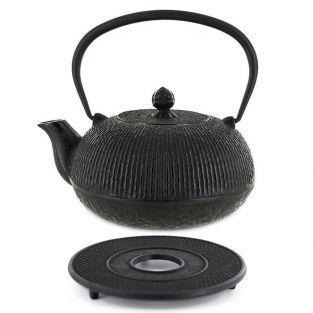 Tetera de hierro fundido Yuan 0,8 litro y soporte negro