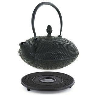 Tetera de hierro fundido Tang 0,8 litro y soporte negro