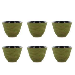 6 Chinese cast iron tea cups - green & gold