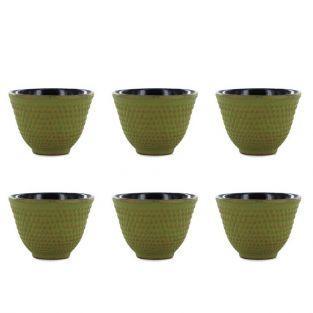 6 tasses en fonte de Chine vert & or