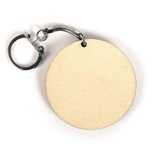 10 round wooden key chain Ø 5.5 cm