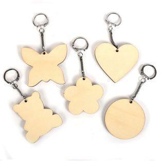 10 porte-clés en bois assortis 5,5 x 5,5 cm