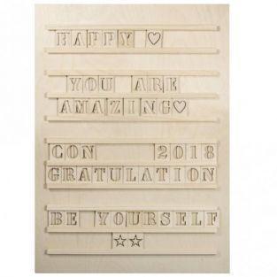 Tableau à lettres Letterboard en bois 30 x 42 cm + 96 lettres