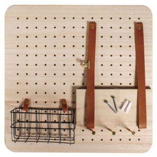 Pin & Peg customizable wood wall organizer 40 x 40 cm