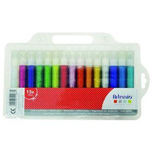 Set 15 glitter glue tubes 10 ml