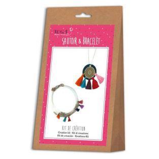 Kit para hacer collar y pulsera con pompones indios